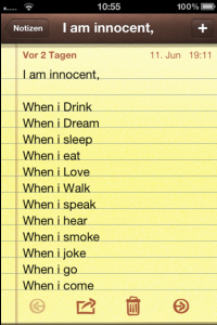 """Am I"", Screenshot Notepad, 11 June 2012, 19:11 h."